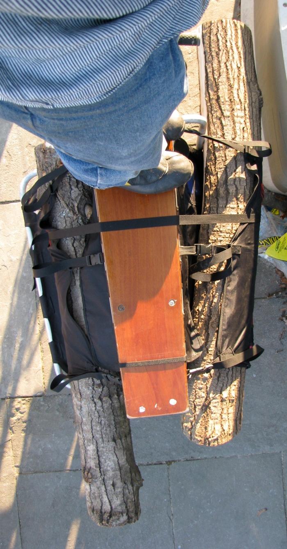 Two logs on a cargo bike