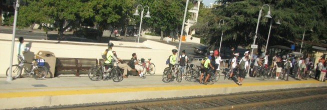 CalTrain bike cummuters, waiting, Palo Alto