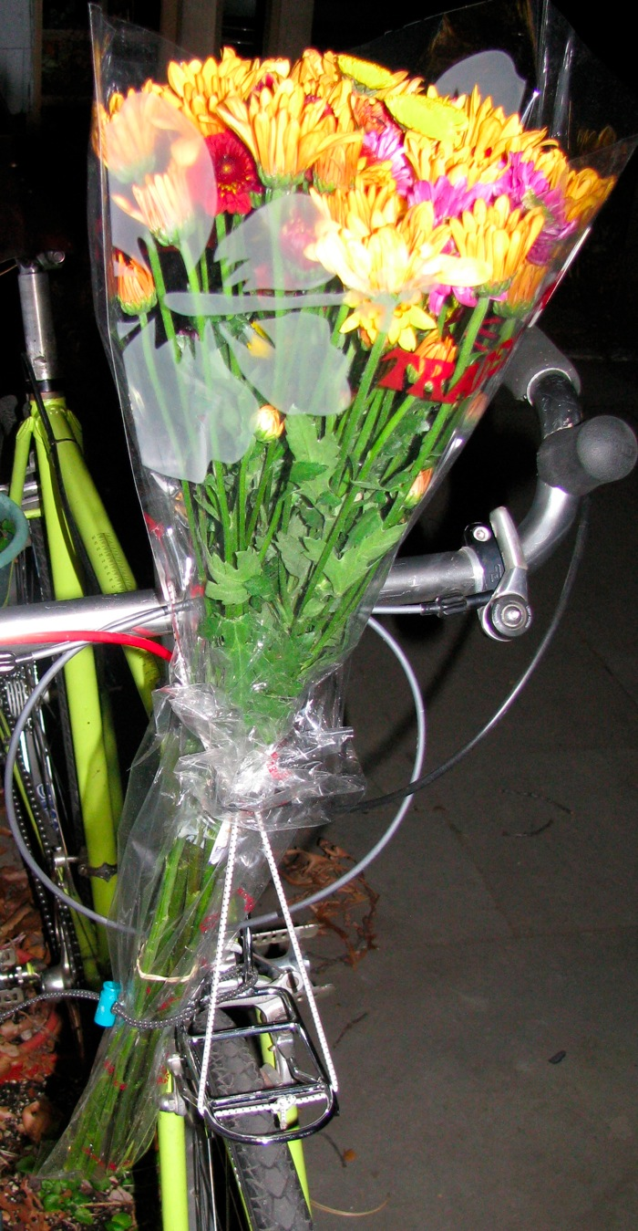 Flowers strapped to a bike