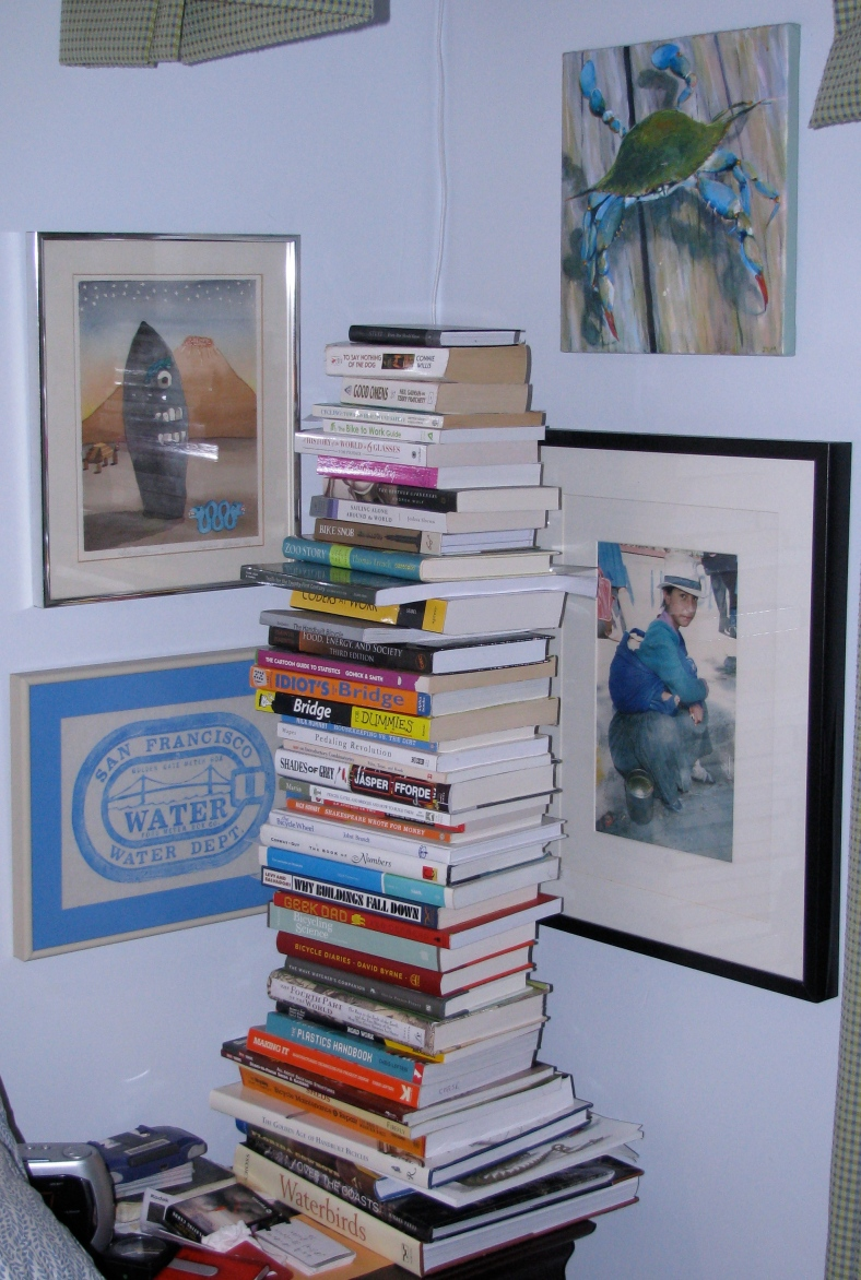 Stack of books, and art